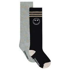 Set of 2 pairs of knee-high socks with lurex ©Smiley motif