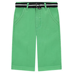 Bermuda shorts in plain green twill with belt