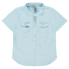 Short-sleeved shirt in an original woven fabric