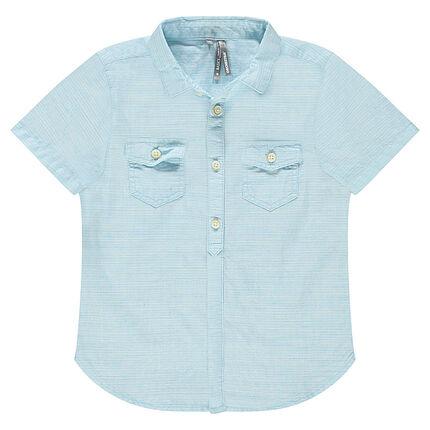 Short-sleeved shirt in an original woven fabric