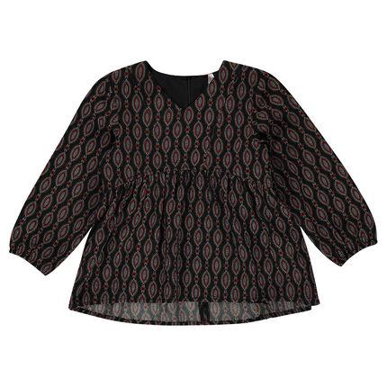 Loose, geometric-printed tunic