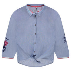 Junior - Long-sleeved striped shirt with embroidered flowers