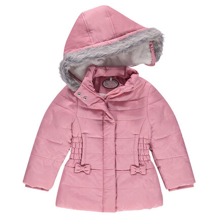 Sherpa-lined padded parka with a removable hood