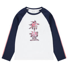 Junior - Long-sleeved jersey tee-shirt with printed Chinese characters