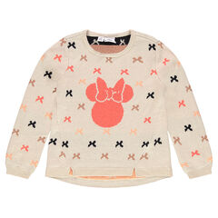 Knit sweater with printed bows and Disney Minnie Mouse print