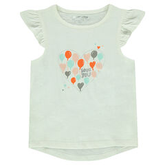 Short-sleeved frilled tee-shirt with decorative print