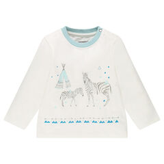Long-sleeved tee-shirt with printed zebras