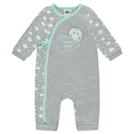 ©Smiley Baby jersey jumpsuit with cloud print
