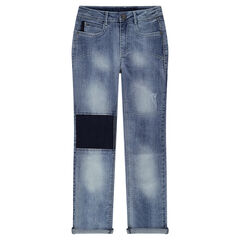 Junior - Distressed jeans with contrasting yokes