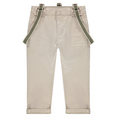 Plain-colored cotton satin pants with removable suspenders