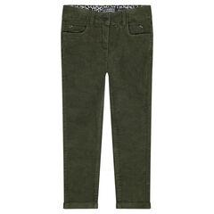 Plain-colored cropped velvet pants