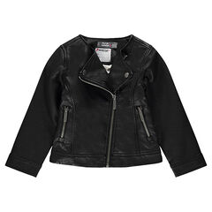 Black imitation leather biker jacket