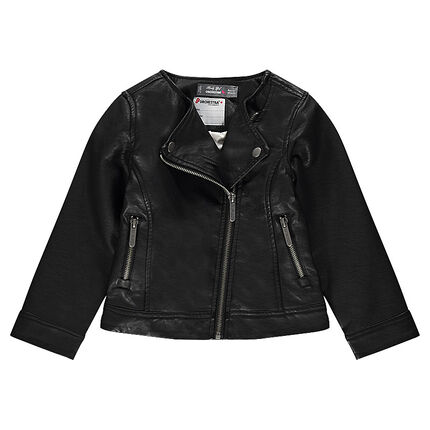 Black imitation leather biker jacket