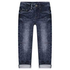 Junior - Used and crinkled-effect fleece jeans
