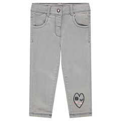 Used-effect jeans with sherpa hearts