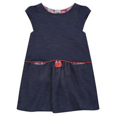 Denim-effect cotton dobby dress