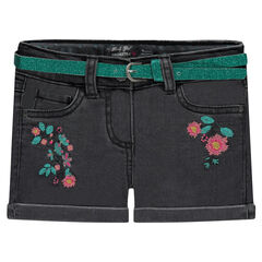 Embroidered denim shorts with sparkly belt