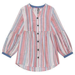 Striped tunic with balloon sleeves and a buttoned opening