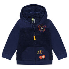 Sherpa-lined fleece jacket with badge patches