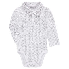 Long-sleeved jersey bodysuit with allover printed teddy bears