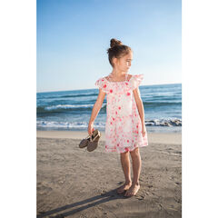 Bare-shouldered dress with an allover flowery print
