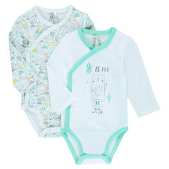 Set of 2 plain-colored/printed long-sleeved jersey bodysuits
