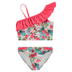 2-piece frilled swimsuit with allover printed flowers