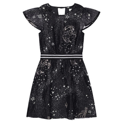 Frilled dress with a galaxy motif and a shiny striped elastic band