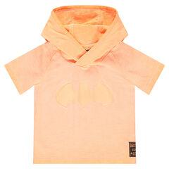 Short-sleeved hooded tee-shirt with ©Warner Batman 3D ears