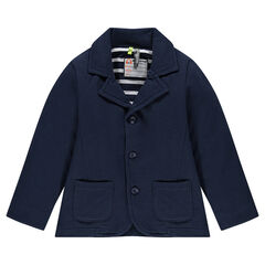 Pique fleece blazer with striped lining