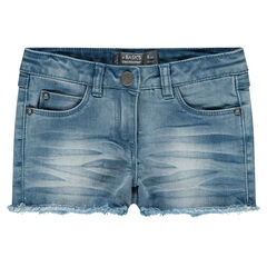 Stonewashed-effect denim shorts with fringes