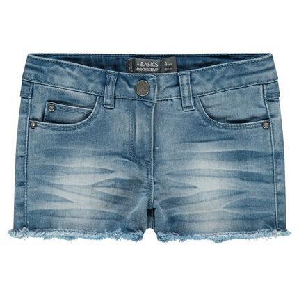 Stonewashed-effect denim shorts with fringes