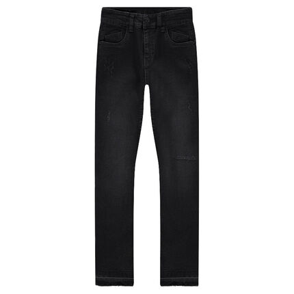 Junior - Used-effect slim fit jeans with loose hems