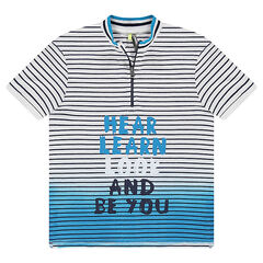 Junior - Short-sleeved tie-and-dye effect jersey polo shirt with a zipped collar
