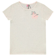 Junior - Short-sleeved jersey tee-shirt with embroidered flowers