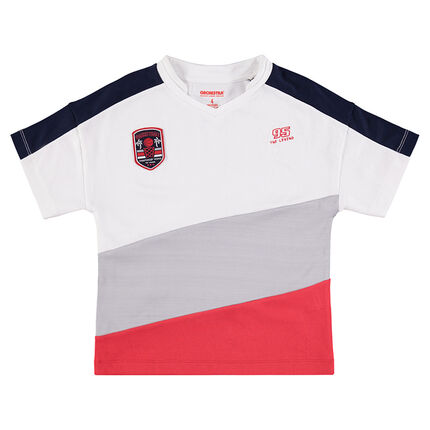 Short-sleeved tee-shirt with wide contrasting bands.