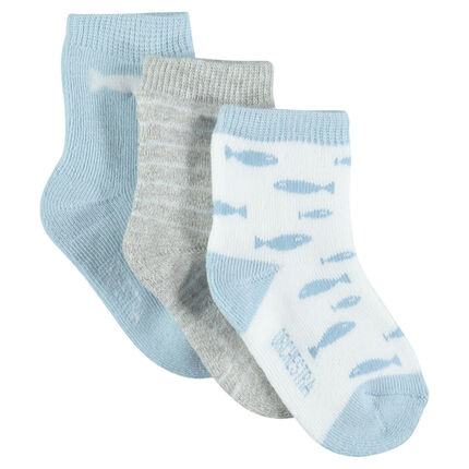 Set of 3 pairs of matching socks, striped and with fish motif