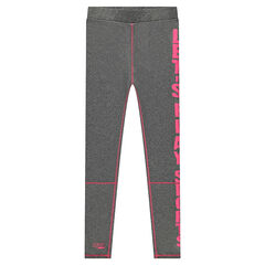 Junior - Heather gray jersey leggings with printed message