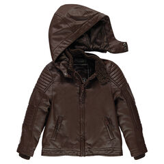 Leather-effect, biker-style jacket with removable hood