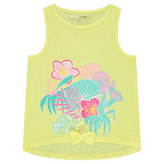 Slub jersey tank top with a vegetation print in front