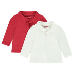 Set of 2 long-sleeved plain-colored jersey polo shirts