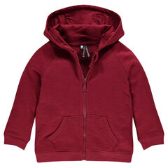 Light, slub fleece hooded jacket