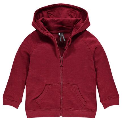 Light, slub fleece hooded jacket