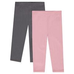 Set of 2 plain-colored jersey leggings