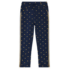 Denim-effect fleece jeggings with printed hearts