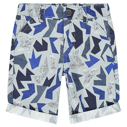 Trendy cotton bermuda shorts with geometric print