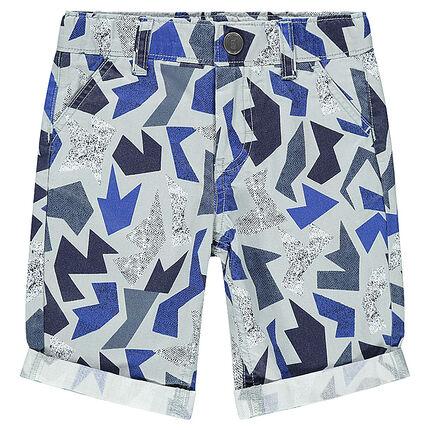 Junior - Trendy cotton bermuda shorts with geometric print