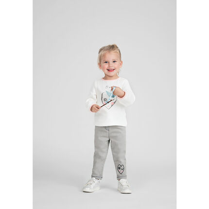 Long-sleeved jersey tee-shirt with printed heart