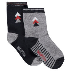 Set of 2 pairs of assorted socks with a jacquard motif