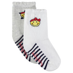Set of 2 pairs of socks with stripes and jacquard ©Smiley motif